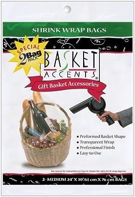 "Basket Accents Shrink Wrap Bags Medium 24""X30"" 2/Pkg-Clear"