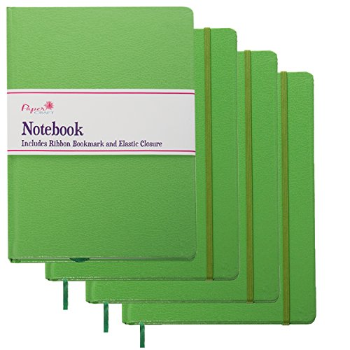 Paper Craft (4 Pack) 8.5 x 5.5 Leatherette Lined Writing Journals Wide Ruled Banded Notebook with Ribbon Bookmark, Green, (a5 Size)