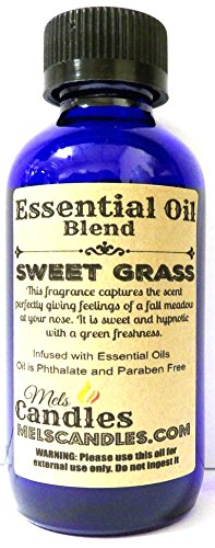 Sweet Grass 1oz / 29.5ml Blue Glass Bottle of Premium Grade Fragrance Oil Skin Safe, Soap Oil, Candle Oil (Oil Sweetgrass Essential)