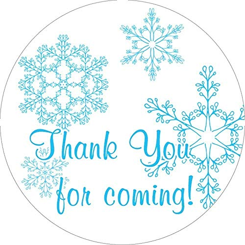 Blue Snowflakes Winter 2 Inch Thank You Stickers Set of -