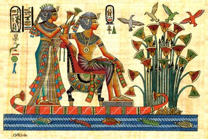 Egyptian Hand Made Papyrus Painting Royalty Cruising The