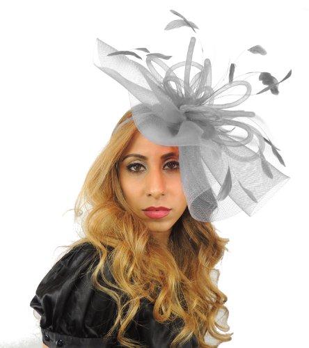Sombreros Por Cressida Grand Dame 12pulgadas Sheer Ascot/Kentucky Derby Tocado Sombrero con Diadema gris