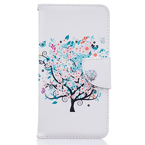 Honor 5C Funda, Huawei Honor 5C Funda, Lifeturt [ ¡No toque mi teléfono ] Ultra Slim PU Cuero Folding Stand Flip Funda Carcasa Caso,Leather Case Wallet Protector Card Holders, Cubierta de la caja Fund E02-Árbol colorida