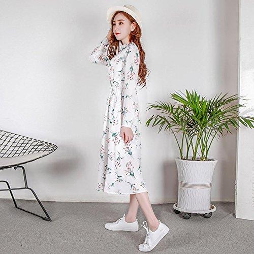 de Robe Noir Femme 122 132 Manches Une de Longues 2018 Style MiGMV XL Mot Xia de Jupe Nouveau Longueur Mousseline Robes RtXnqF
