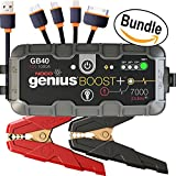 NOCO Genius Boost Plus GB40 1000 Amp 12V UltraSafe Lithium Jump Starter & & USB Cable, 4 in 1 Multi-Functional Universal USB Charger Cable Adapter Connector (Bundle)