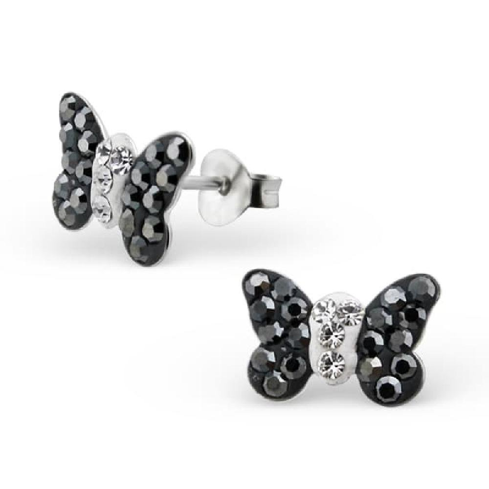 So Chic Jewels Childrens 925 Sterling Silver Black Butterfly Ear Studs with Crystal