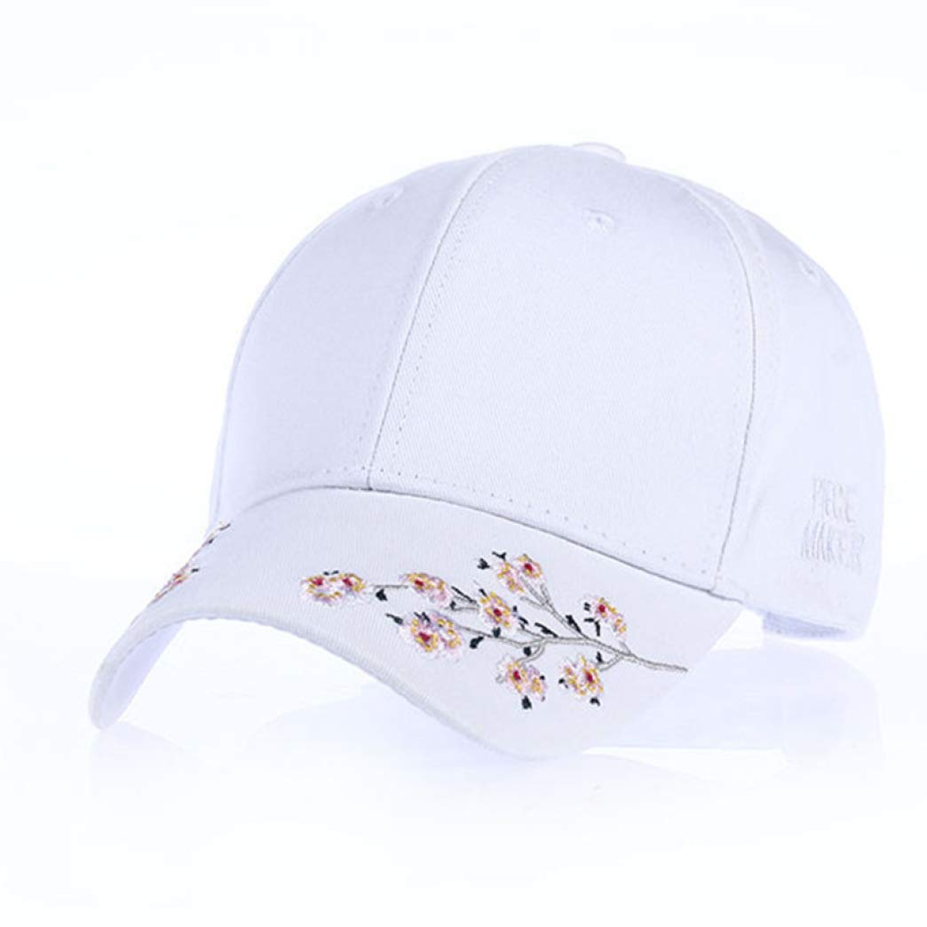 Women/'s Baseball Caps Vintage Washed Cotton Embroidered Flower Snapback Trucker Hat