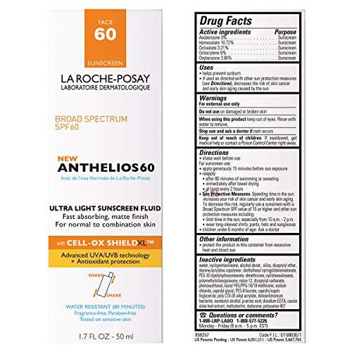 La Roche-Posay Anthelios Light Fluid Face Sunscreen Broad Spectrum SPF 60, Oxybenzone Free, Non Greasy, Non-Comedogenic…