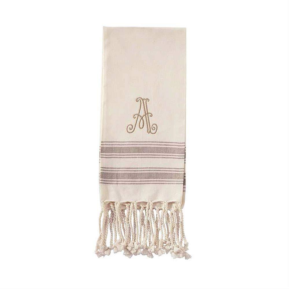 Size 38 x 20 Mud Pie A Initial Turkish Hand Towel