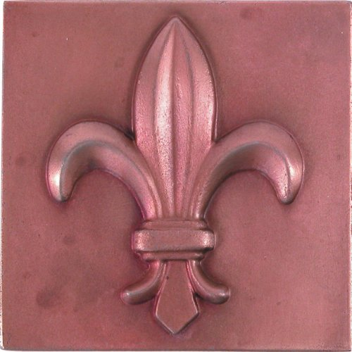 Brass Elegans 27FL-RC Fluer De Lis Design Solid Metal 4-Inch X 4-Inch Accent Tile, Durable Red Copper Finish