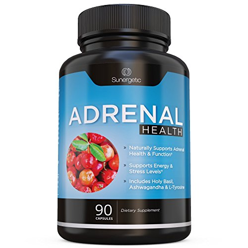 Premium Adrenal Support Supplement - Adrenal Fatigue Supplement For Energy, Adrenal Health & Stress Relief – Adrenal Complex Includes Ashwagandha, L-Tyrosine, Holy Basil & Acerola –90 Veggie Capsules Licorice Root Adrenal Fatigue