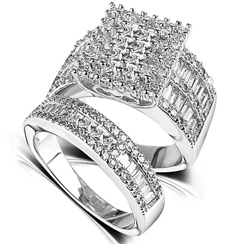 Cubic Zirconia Wedding Ring Sets - Rhodium Plated Jewelry Big Engagement Eternity Band Rings for Women - Silver Ring Crystal Cluster Rhodium