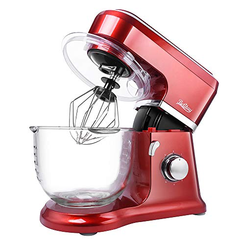 【Upgraded】Betitay Electric Stand Mixer wth 4.0-Quart Glass Bowl, 6 Speeds Adjusted + Pulse Function, Tilt-Head Kitchen Dough Mixer with Pouring Shield and Silicone Brush, Empire Red