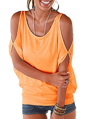 - Orange Summer T Shirt Women Short Sleeve Cold Shoulder Loose Fit Pullover Casual Top
