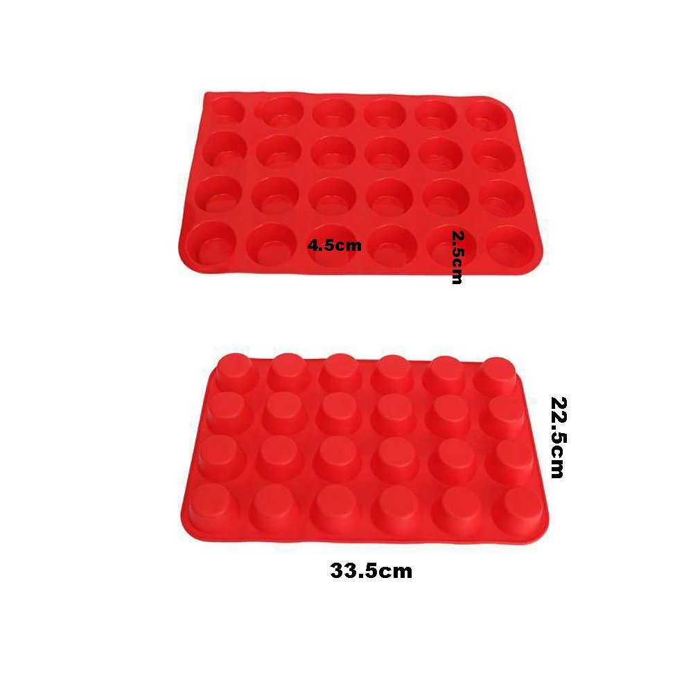 3 Paks Silicone Mini Muffin Pan, 24 Cups Silicone Mold Cupcake Baking Pan, Silicone Muffin Tins Baking Molds. (Orange, Red, Blue) by WedFeir (Image #5)