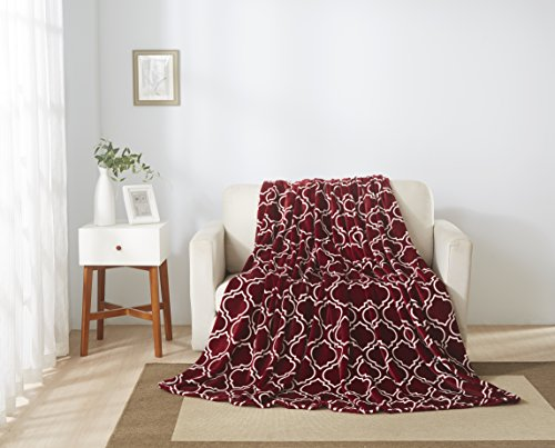 All American Collection New Super Soft Printed Moroccan Trellis Throw Blanket (King Size, Burgundy)