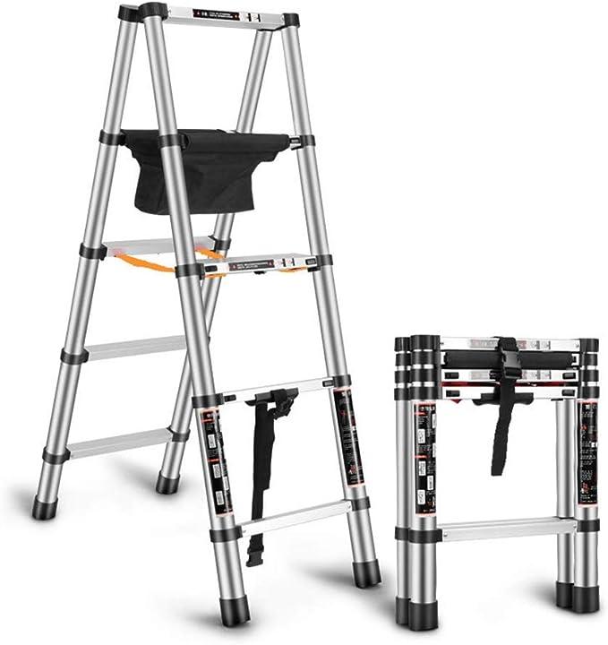Escaleras telescópicas Escalera de extensión con bolsa de almacenamiento de herramientas Escalera portátil de bricolaje multifunción for pintura de renovación interior Capacidad de carga: 330 libras: Amazon.es: Hogar