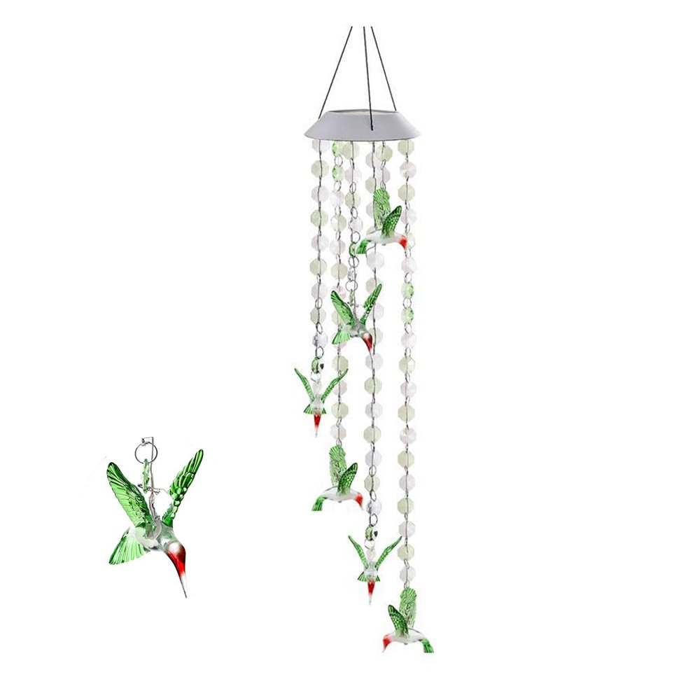 AVEKI Solar Mobile Wind Chime, Color Changing LED Solar Wind Chime Solar Powered LED Hanging Lamp Wind Chime Light Wind Chimes for Outdoor Indoor Gardening Lighting Decoration Home (Hummingbird)