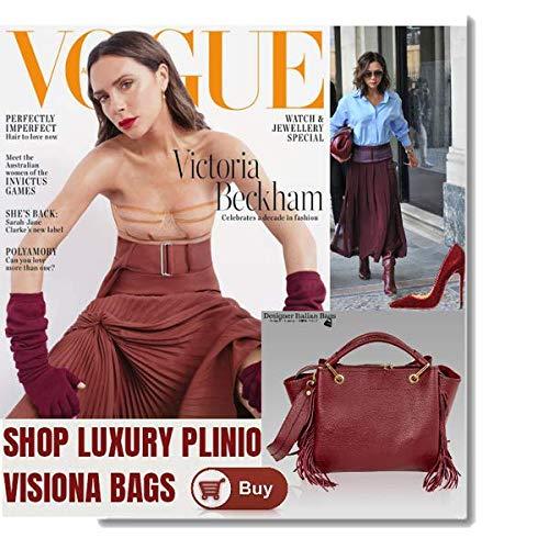 531161051cd6d Plinio Visona Italian Designer Marsala Red Leather Fringe Crossbody Bag    Wallet Set  Amazon.co.uk  Shoes   Bags
