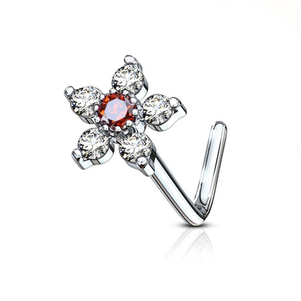 20G FifthCue 6 CZ Flower Top 316L Surgical Steel L Bend Nose Stud Ring - Choose Color (Clear/Red)