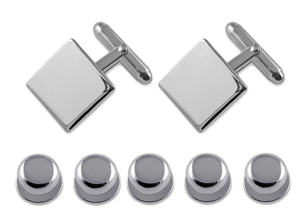 Sterling silver plain square Cufflinks Shirt Dress Studs Gift Set