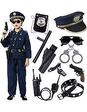 Tacobear Politie Kostuum Kinderen met Politie Pretend Speelaccessoires Politie Apparatuur Politie Shirt Broek Hoed Riem Badge Zonnebril Handmanchet Politie Speelgoed Rollenspel Kostuum Accessoires voor Kids Jongens Meisjes