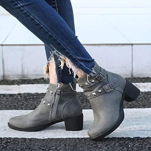 Di Di Di Donna Donna Martin Dimensioni Gray Stivali Grandi Impermeabile Impermeabile Impermeabile Piattaforma Stivali Stivali Autunno Rivetto KUKI Piattaforma Stivali P8wYqn5