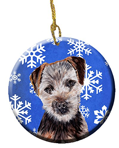 (Caroline's Treasures SC9783CO1 Norfolk Terrier Puppy Winter Snowflakes Ceramic Ornament, 3 in, Multicolor)