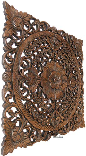 Asian Wall Art Home Decor.Large Square Carved Wood Wall Plaque. Decorative Floral Wood Wall Panel.Tropical Home Decor. Brown 24
