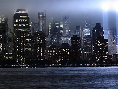 Wall Art Prints - World Trade Center New York Memorial Lights Skyscrapers Rays - Fabric Cloth Rolled Wall Poster Print - Size:16x12 Inches