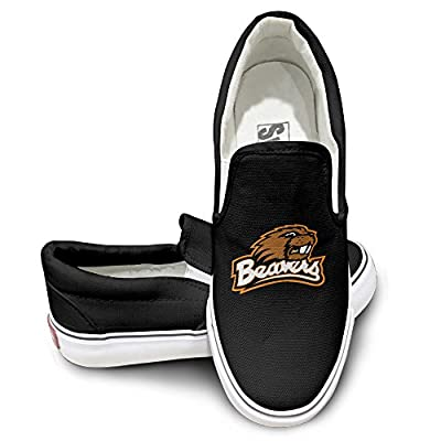 PTCY Oregon State Beavers Mascot Canvas Unisex Flat Canvas Shoes Sneaker Black