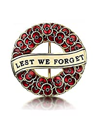 Poppy Wreath Brooch Lest We Forget Enamel Poppy Brooches Pin Badge Flower Remembrance Day Gift