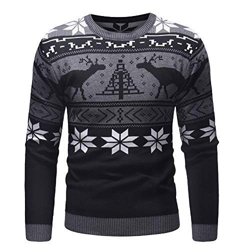 Sunhusing Autumn Winter Men Round Neck Knitted Pullover Top Christmas Printed Sweater Blouse ()