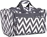 Ever Moda Chevron Medium Duffle Bag (Grey)