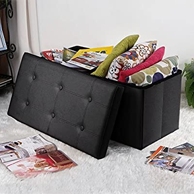 "Songmics 30"" x 15"" x 15"" Faux Leather Folding Storage Ottoman Bench Foot Rest Stool Seat Footrest"