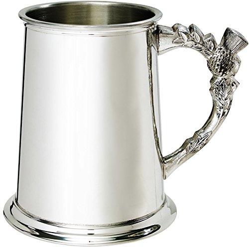 Pewter Tankard 1 Pint Plain Bright Polished Finish Scottish Thistle Shaped Handle Ideal For Engraving