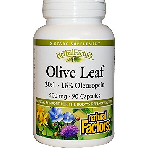 Natural Olive - Natural Factors - HerbalFactors Olive Leaf 500mg, 15% Oleuropein, Support for the Body's Defense System, Gluten Free & Non-GMO, 90 Capsules