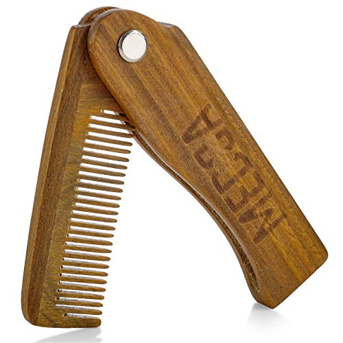 Folding Wooden Comb – 100% Solid Beech Wood – Fine Tooth Pocket Sized Beard, Mustache, Head Hair Brush Combs for Men Perfect for All Hair Types – Travel, Styling & Detangler