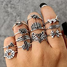 ULAKY Vintage Carved Animal Cactus Feather Finger Ring Set Fashion Hollow Fox 3D Elephant Bird Leaf Knuckle Ring Sets Jewelry Gifts