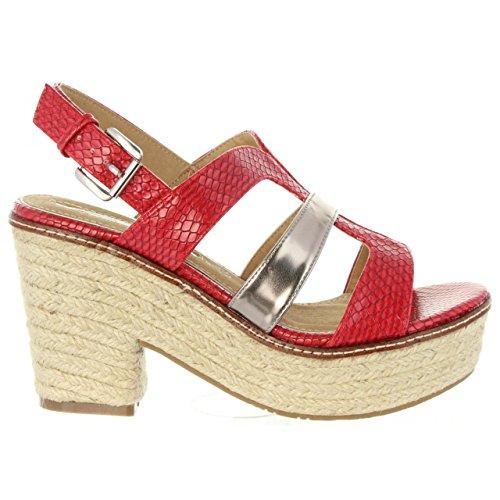Stripes Rojo De Maria Sandalias C32702 Mare Mujer 66691 AFpfqC