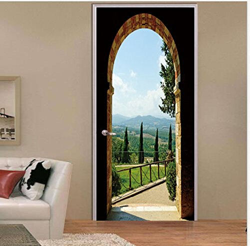 FLFK 3D Arched Door Wall Sticker Wrap Mural Scene Self Adhesive Home Decor Decal 30.3x78.7