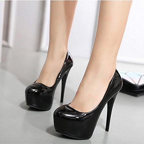 Mzg Ásperos Redonda Cena Talones Black Zapatos Impermeables Cabeza Señoras Partido Mesa Mujer Altos Con Las De Del rprqU