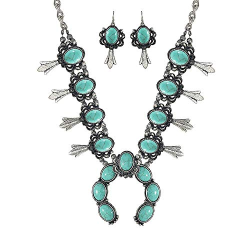 Turquoise Vintage Squash Blossom Metal Statement Necklace/w Earrings No.97 ()