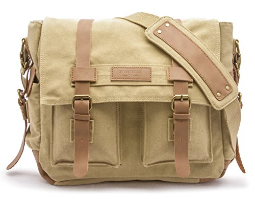 (Sweetbriar Classic Laptop Messenger Bag, Army Khaki - Canvas Pack Designed to Protect Laptops up to 15.6 Inches )