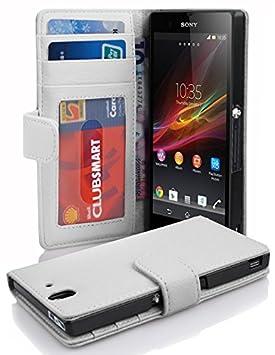 Cadorabo Carcasa para Sony Xperia Z en Tarjeta de teléfono móvil con 3 Compartimentos Case Cover Carcasa Funda Book Style Magnesio Color Blanco
