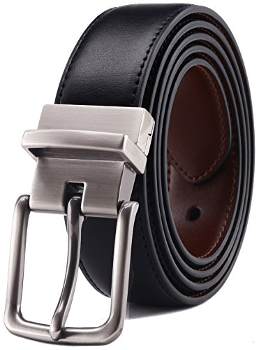 Men's Belt, Bulliant Leather Reversible Belt for Men With Single Prong Buckle in Gift Box, Trim to Fit.