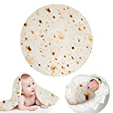 Outivity Burrito Wrap Novelty Blanket, Realistic Food Burrito Tortilla Blanket,Soft Plush Round Throw Blanket for Bed,Couch or Travel (Yellow-1, 49 in)