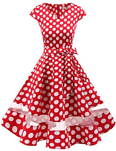 Gardenwed Women's 1950s Rockabilly Cocktail Party Dress Retro Vintage Swing Dress Cap-Sleeve V Neck Red White Dot M