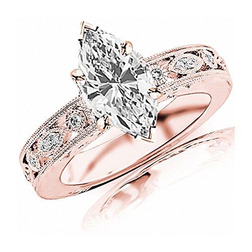 0.68 Ctw 14K Rose Gold GIA Certified Marquise Cut Antique/Vintage Bezel Set Designer Diamond Engagement Ring with Milgrain, 0.5 Ct I-J VVS1-VVS2 Center ()