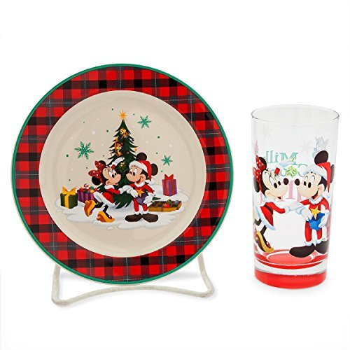 - Disney Parks Holiday Home Cookies for Santa Plate and Glass Set
